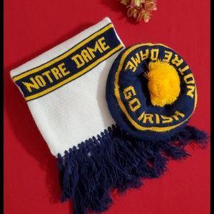 NOTRE DAME•tam, hat & scarf with fringe•read below